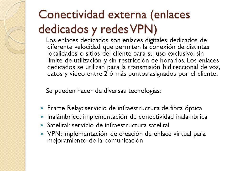 Conectividad externa (enlaces dedicados y redes VPN) Los enlaces dedicados son enlaces digitales dedicados de diferente velocidad que permiten la cone