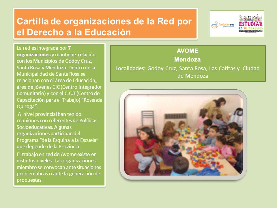 Cartilla de organizaciones de la Red por el Derecho a la Educación La red es integrada por 7 organizaciones y mantiene relación con los Municipios de Godoy Cruz, Santa Rosa y Mendoza.
