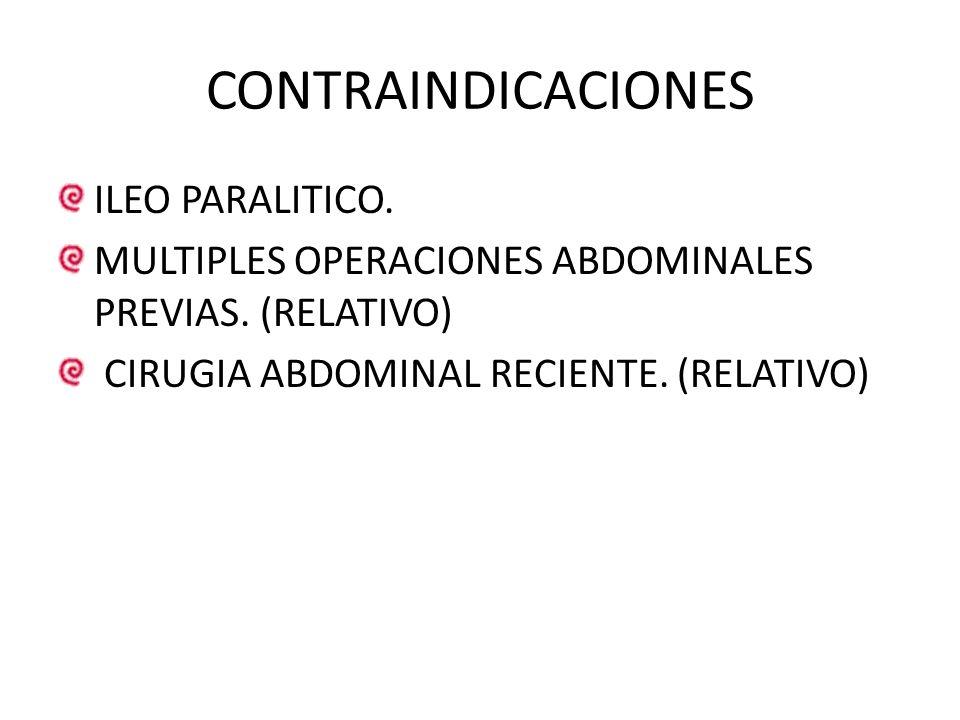 CONTRAINDICACIONES ILEO PARALITICO. MULTIPLES OPERACIONES ABDOMINALES PREVIAS. (RELATIVO) CIRUGIA ABDOMINAL RECIENTE. (RELATIVO)