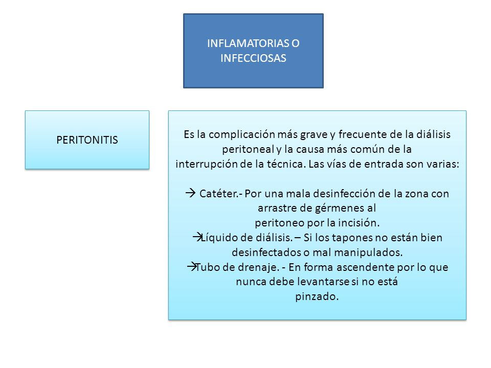 INFLAMATORIAS O INFECCIOSAS PERITONITIS Es la complicación más grave y frecuente de la diálisis peritoneal y la causa más común de la interrupción de