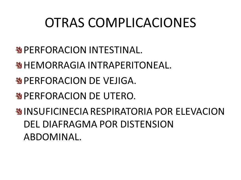 OTRAS COMPLICACIONES PERFORACION INTESTINAL. HEMORRAGIA INTRAPERITONEAL. PERFORACION DE VEJIGA. PERFORACION DE UTERO. INSUFICINECIA RESPIRATORIA POR E
