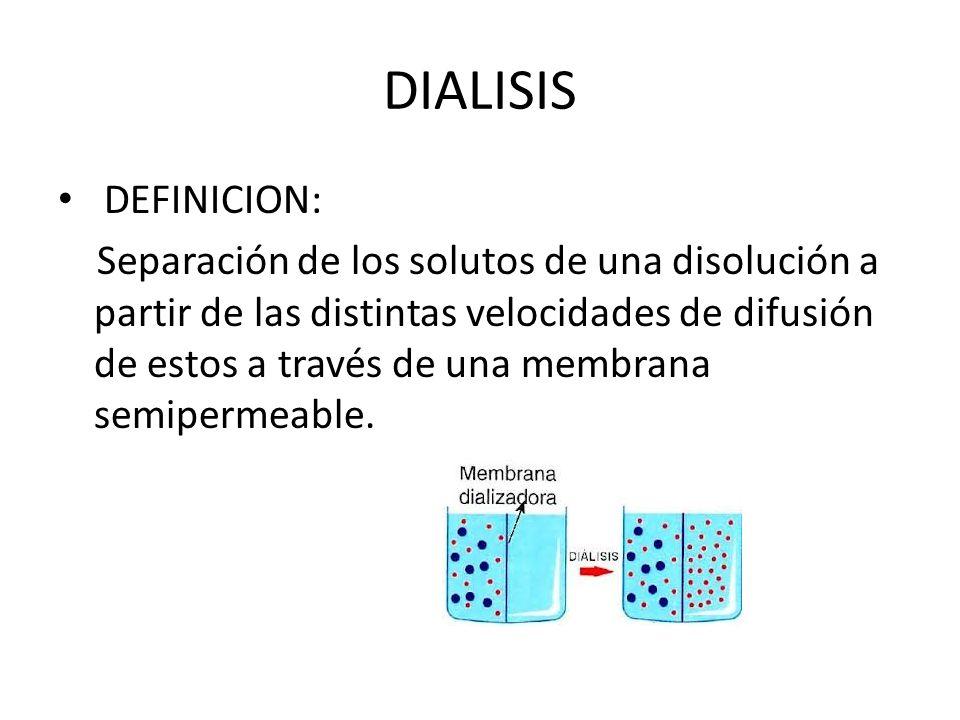 DIALISIS DEFINICION: Separación de los solutos de una disolución a partir de las distintas velocidades de difusión de estos a través de una membrana semipermeable.