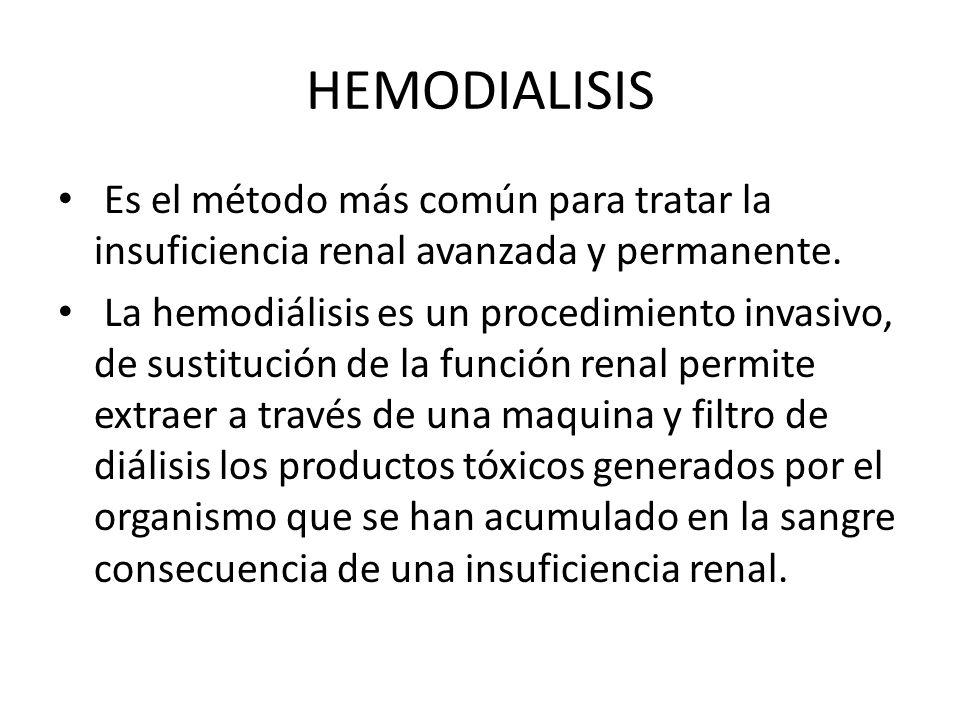 HEMODIALISIS Es el método más común para tratar la insuficiencia renal avanzada y permanente. La hemodiálisis es un procedimiento invasivo, de sustitu