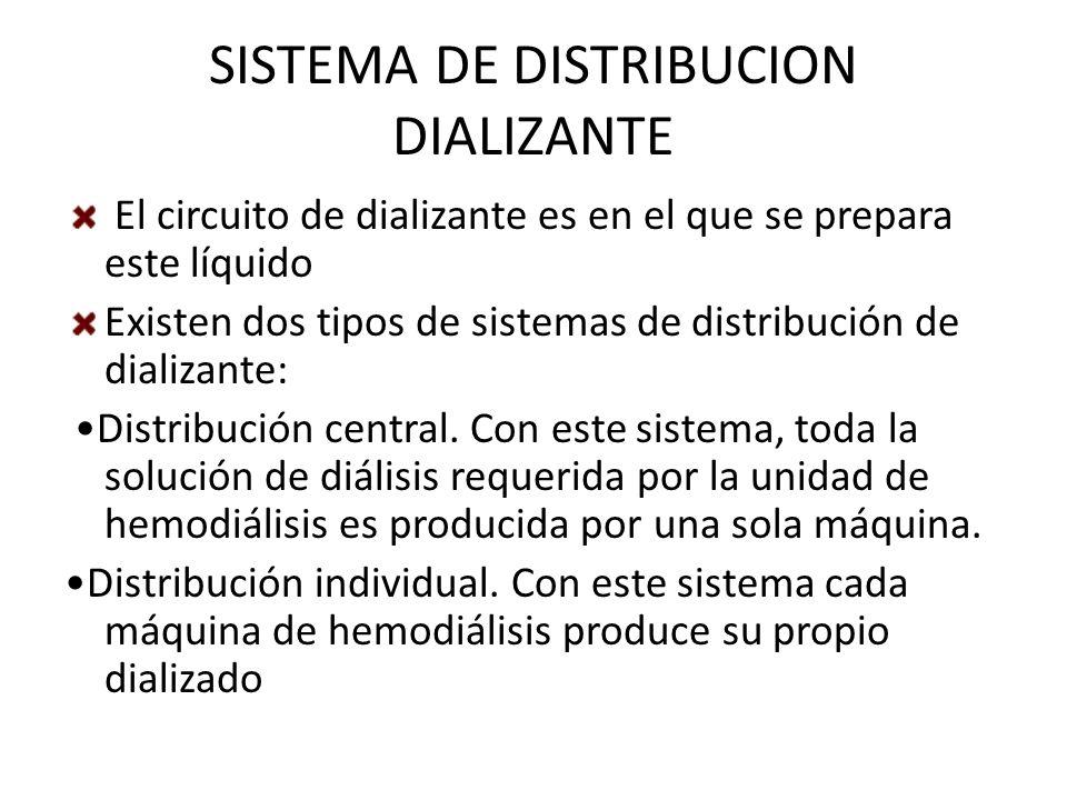 SISTEMA DE DISTRIBUCION DIALIZANTE El circuito de dializante es en el que se prepara este líquido Existen dos tipos de sistemas de distribución de dia