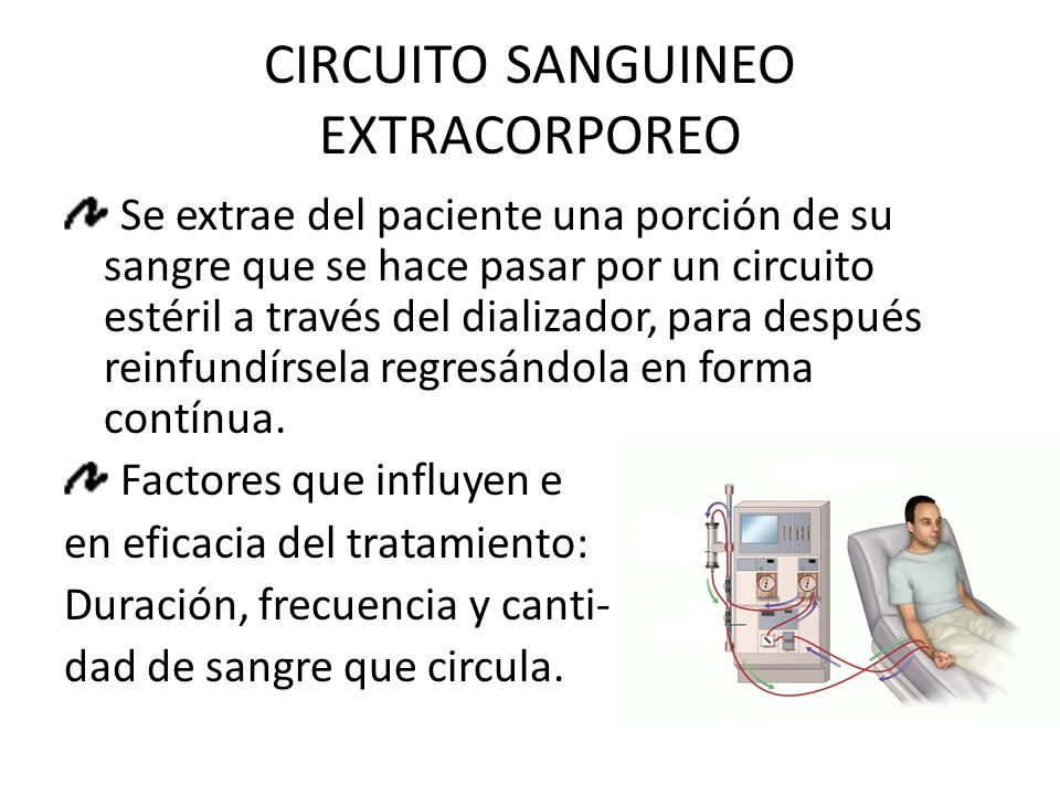 CIRCUITO SANGUINEO EXTRACORPOREO Se extrae del paciente una porción de su sangre que se hace pasar por un circuito estéril a través del dializador, para después reinfundírsela regresándola en forma contínua.