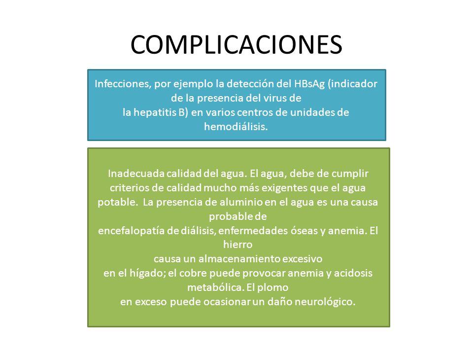 COMPLICACIONES Infecciones, por ejemplo la detección del HBsAg (indicador de la presencia del virus de la hepatitis B) en varios centros de unidades de hemodiálisis.