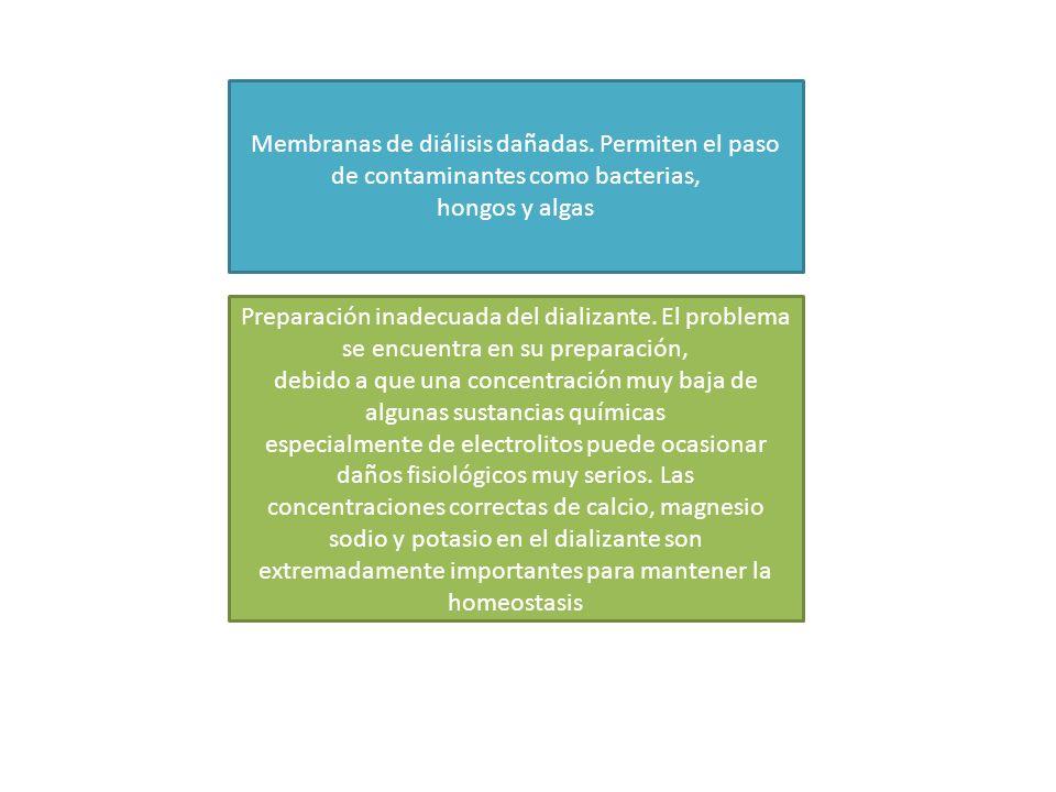 Membranas de diálisis dañadas. Permiten el paso de contaminantes como bacterias, hongos y algas Preparación inadecuada del dializante. El problema se