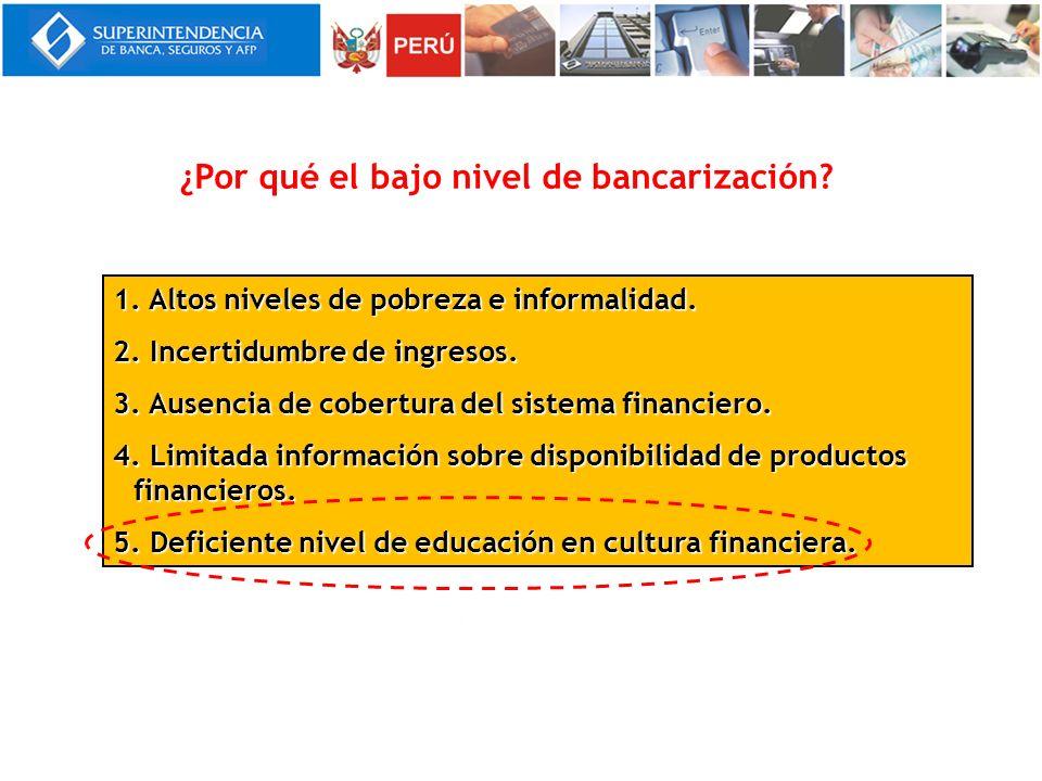 1. Altos niveles de pobreza e informalidad. 2. Incertidumbre de ingresos. 3. Ausencia de cobertura del sistema financiero. 4. Limitada información sob
