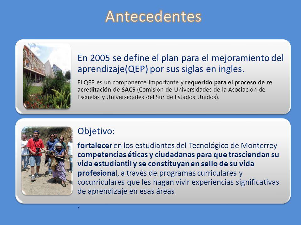 En 2005 se define el plan para el mejoramiento del aprendizaje(QEP) por sus siglas en ingles. El QEP es un componente importante y requerido para el p