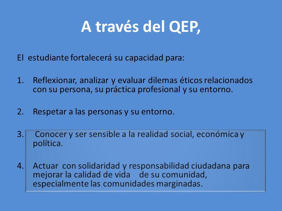 A través del QEP, El estudiante fortalecerá su capacidad para: 1.Reflexionar, analizar y evaluar dilemas éticos relacionados con su persona, su prácti