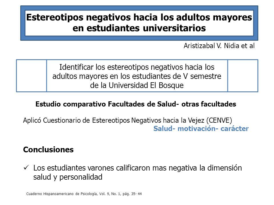 Estereotipos negativos hacia los adultos mayores en estudiantes universitarios Aristizabal V. Nidia et al Identificar los estereotipos negativos hacia