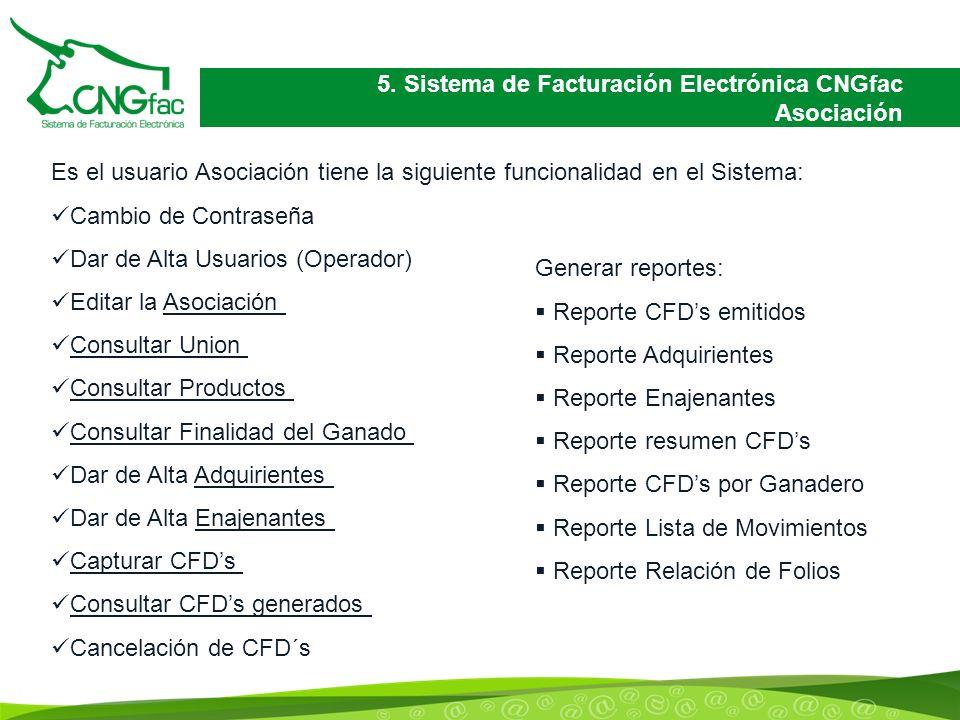 5. Sistema de Facturación Electrónica CNGfac Asociación Es el usuario Asociación tiene la siguiente funcionalidad en el Sistema: Cambio de Contraseña