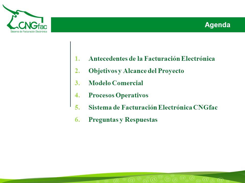 Agenda 1.Antecedentes de la Facturación Electrónica 2.Objetivos y Alcance del Proyecto 3.Modelo Comercial 4.Procesos Operativos 5.Sistema de Facturación Electrónica CNGfac 6.Preguntas y Respuestas
