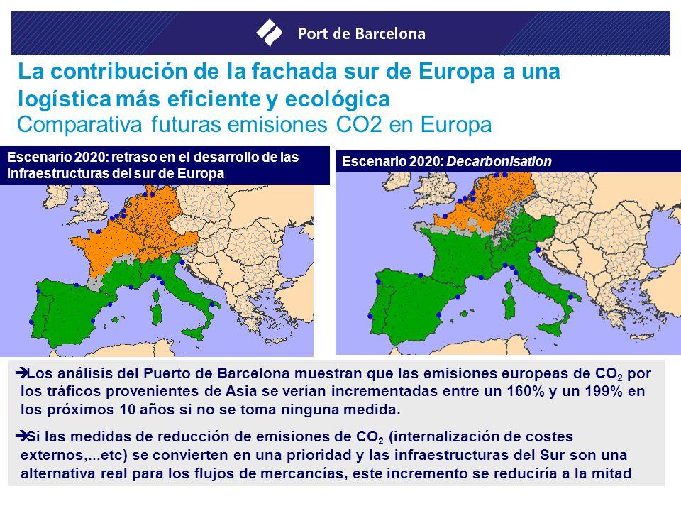 Los análisis del Puerto de Barcelona muestran que las emisiones europeas de CO 2 por los tráficos provenientes de Asia se verían incrementadas entre u