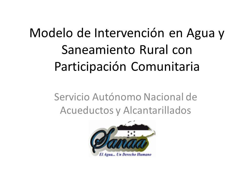 Antecedentes del modelo de intervención El modelo surge como como parte de la evolución de los programas de agua y saneamiento del SANAA durante más de 40 años de actividad en el sector rural.