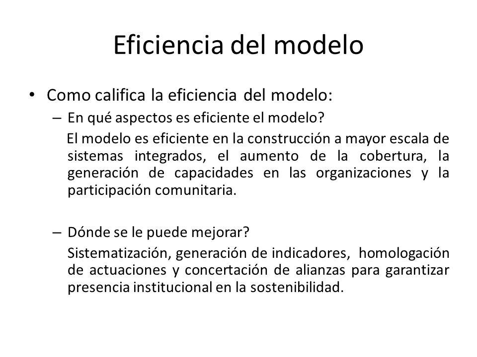 Eficiencia del modelo Como califica la eficiencia del modelo: – En qué aspectos es eficiente el modelo? El modelo es eficiente en la construcción a ma