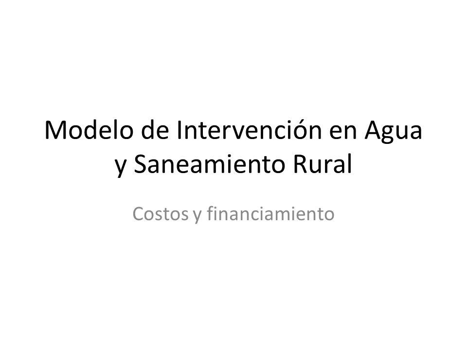 Modelo de Intervención en Agua y Saneamiento Rural Costos y financiamiento