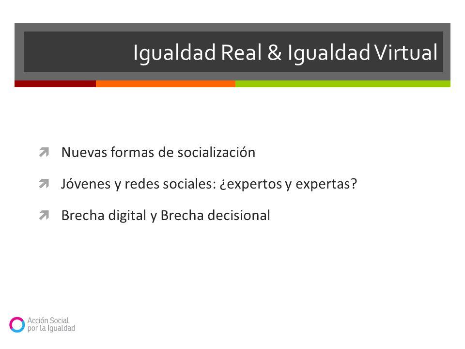 Nuevas formas de socialización Jóvenes y redes sociales: ¿expertos y expertas? Brecha digital y Brecha decisional Igualdad Real & Igualdad Virtual