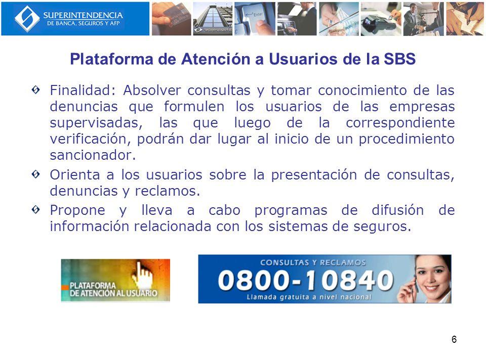 Plataforma de Atención a Usuarios de la SBS Finalidad: Absolver consultas y tomar conocimiento de las denuncias que formulen los usuarios de las empre