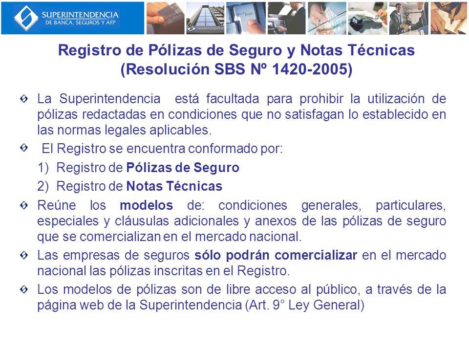 Registro de Pólizas de Seguro y Notas Técnicas (Resolución SBS Nº 1420-2005) La Superintendencia está facultada para prohibir la utilización de póliza