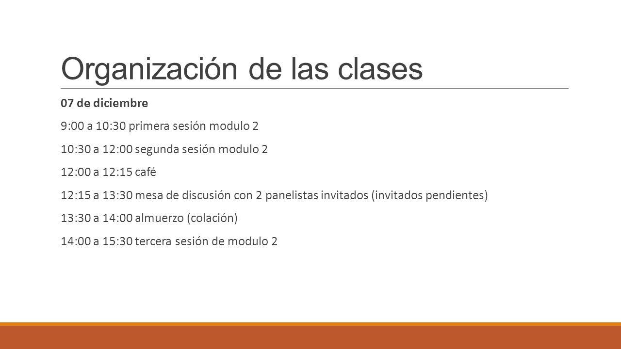 Organización de las clases 07 de diciembre 9:00 a 10:30 primera sesión modulo 2 10:30 a 12:00 segunda sesión modulo 2 12:00 a 12:15 café 12:15 a 13:30