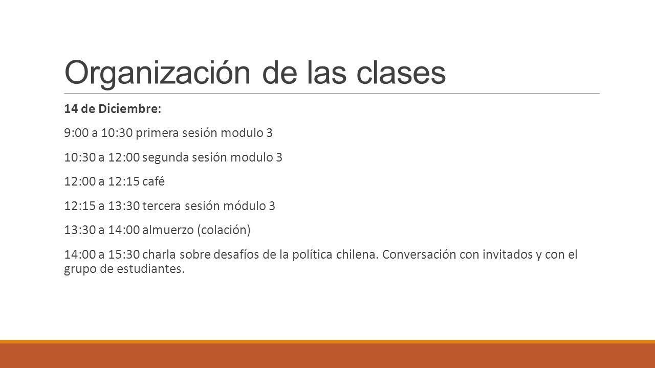 Organización de las clases 14 de Diciembre: 9:00 a 10:30 primera sesión modulo 3 10:30 a 12:00 segunda sesión modulo 3 12:00 a 12:15 café 12:15 a 13:3