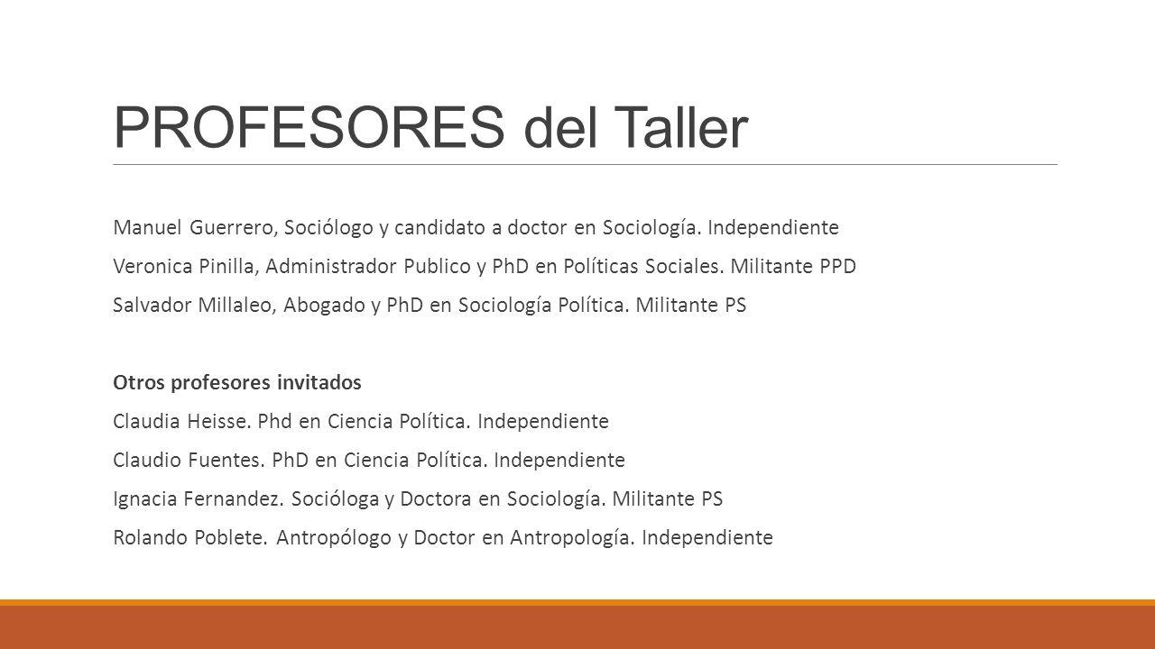PROFESORES del Taller Manuel Guerrero, Sociólogo y candidato a doctor en Sociología. Independiente Veronica Pinilla, Administrador Publico y PhD en Po