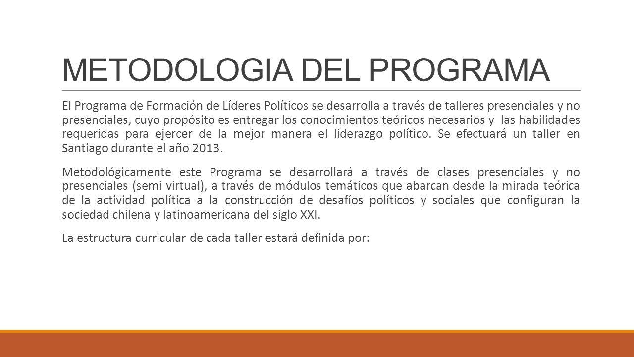 METODOLOGIA DEL PROGRAMA El Programa de Formación de Líderes Políticos se desarrolla a través de talleres presenciales y no presenciales, cuyo propósi