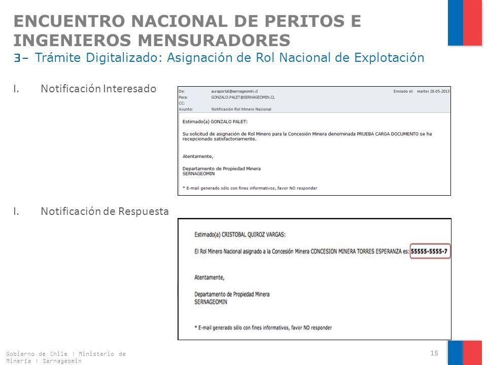 ENCUENTRO NACIONAL DE PERITOS E INGENIEROS MENSURADORES 3- Trámite Digitalizado: Asignación de Rol Nacional de Explotación I.Notificación Interesado I.Notificación de Respuesta Gobierno de Chile | Ministerio de Minería | Sernageomin 15