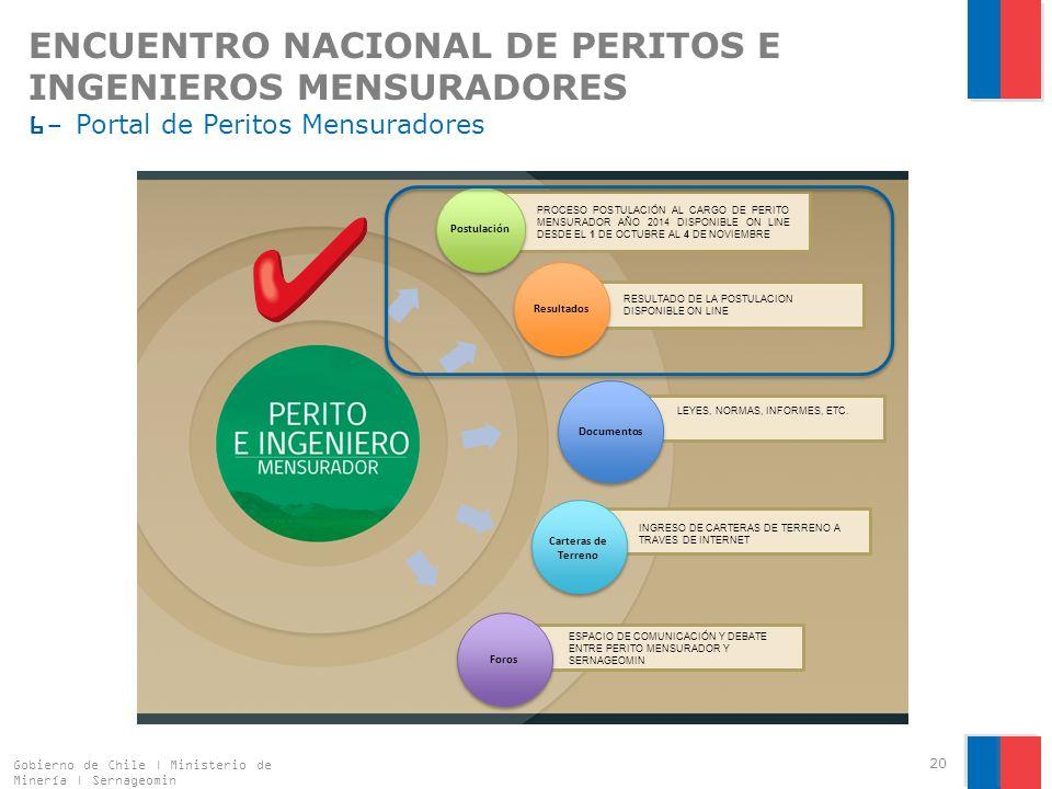 ENCUENTRO NACIONAL DE PERITOS E INGENIEROS MENSURADORES 6- Portal de Peritos Mensuradores Gobierno de Chile | Ministerio de Minería | Sernageomin 20 Postulación Resultados Documentos Carteras de Terreno Foros PROCESO POSTULACIÓN AL CARGO DE PERITO MENSURADOR AÑO 2014 DISPONIBLE ON LINE DESDE EL 1 DE OCTUBRE AL 4 DE NOVIEMBRE RESULTADO DE LA POSTULACION DISPONIBLE ON LINE ESPACIO DE COMUNICACIÓN Y DEBATE ENTRE PERITO MENSURADOR Y SERNAGEOMIN INGRESO DE CARTERAS DE TERRENO A TRAVES DE INTERNET LEYES, NORMAS, INFORMES, ETC.