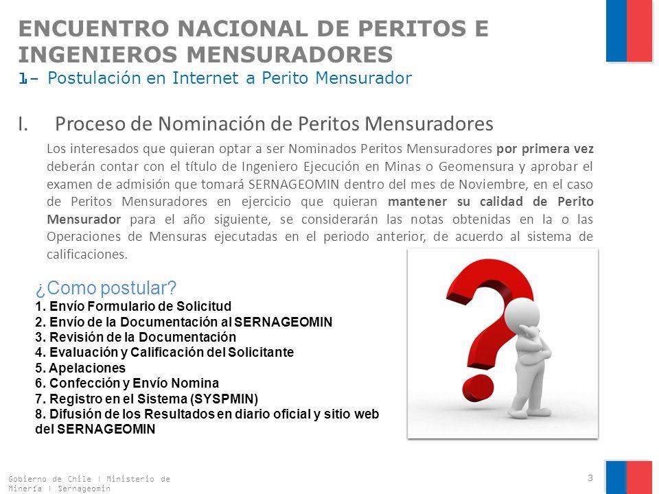 ENCUENTRO NACIONAL DE PERITOS E INGENIEROS MENSURADORES 3- Trámite Digitalizado: Asignación de Rol Nacional de Explotación I.Registro de Antecedentes Gobierno de Chile | Ministerio de Minería | Sernageomin 14