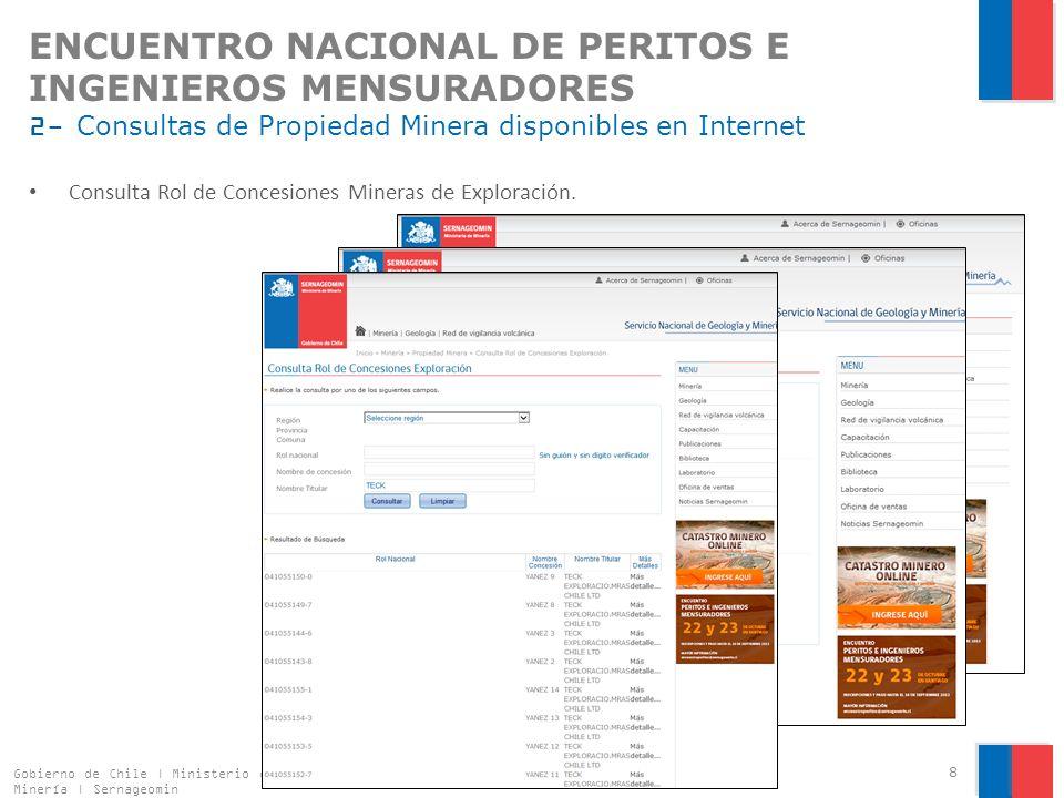 ENCUENTRO NACIONAL DE PERITOS E INGENIEROS MENSURADORES 2- Consultas de Propiedad Minera disponibles en Internet Consulta Rol de Concesiones Mineras de Explotación.