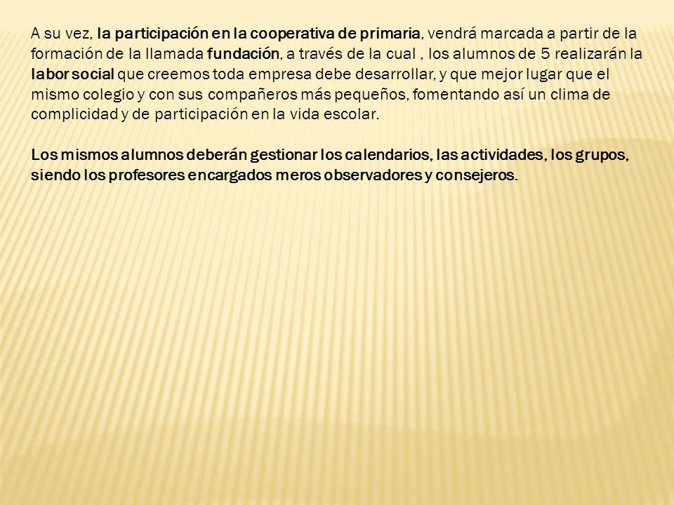 A su vez, la participación en la cooperativa de primaria, vendrá marcada a partir de la formación de la llamada fundación, a través de la cual, los al