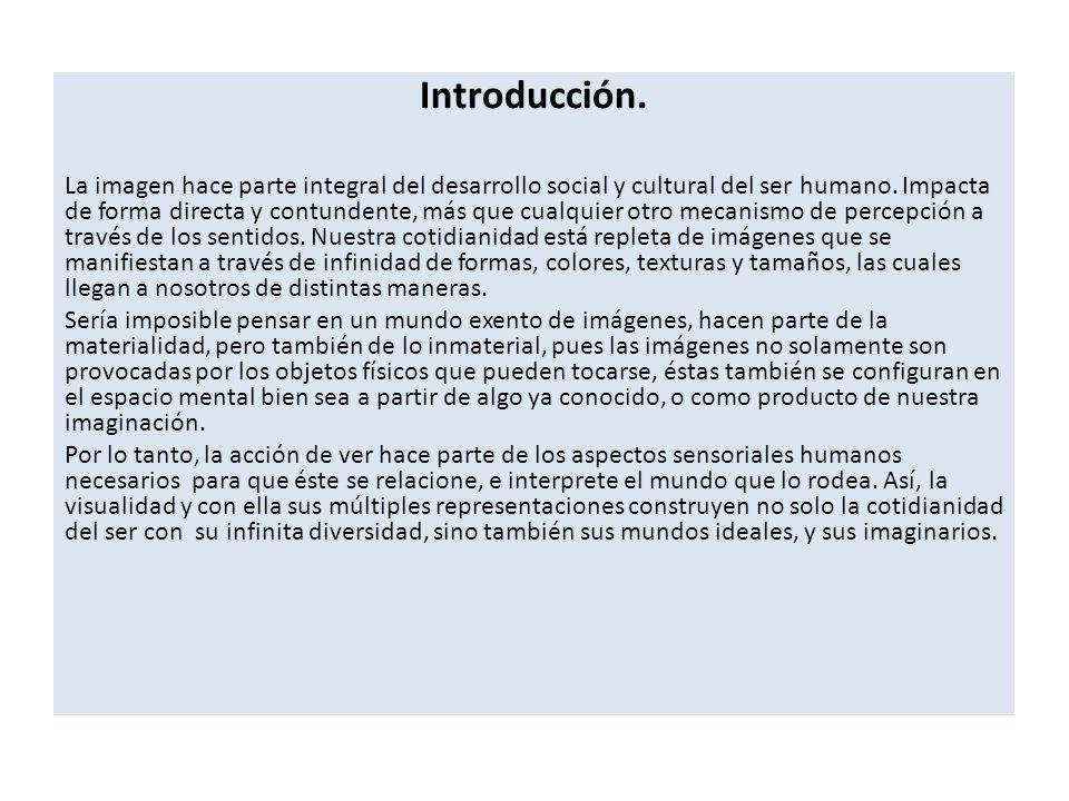 Introducción. La imagen hace parte integral del desarrollo social y cultural del ser humano.