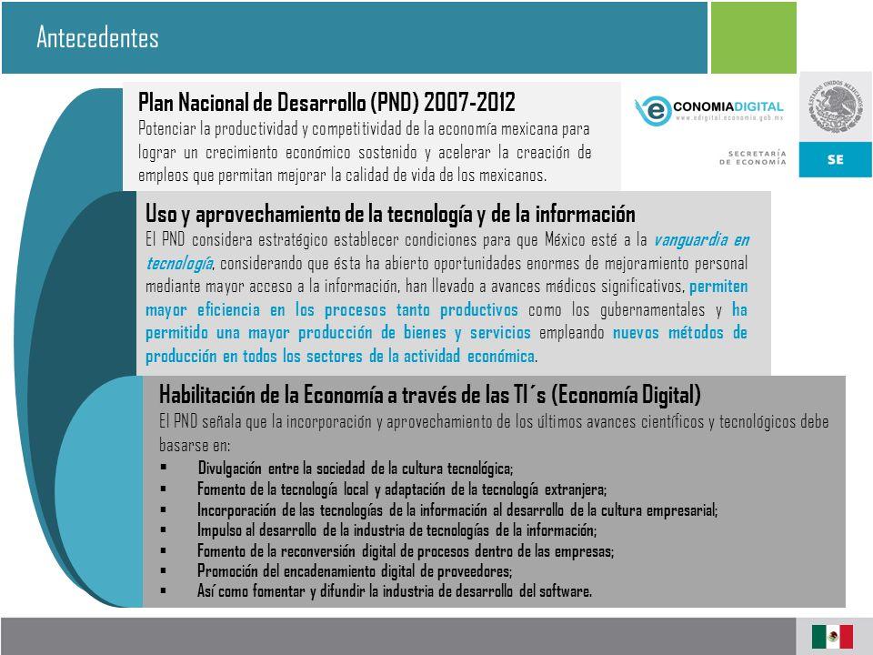 Antecedentes Plan Nacional de Desarrollo (PND) 2007-2012 Potenciar la productividad y competitividad de la economía mexicana para lograr un crecimiento económico sostenido y acelerar la creación de empleos que permitan mejorar la calidad de vida de los mexicanos.