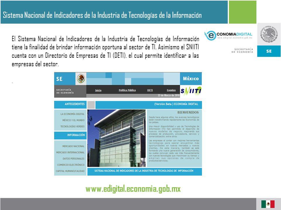 Sistema Nacional de Indicadores de la Industria de Tecnologías de la Información El Sistema Nacional de Indicadores de la Industria de Tecnologías de Información tiene la finalidad de brindar información oportuna al sector de TI.