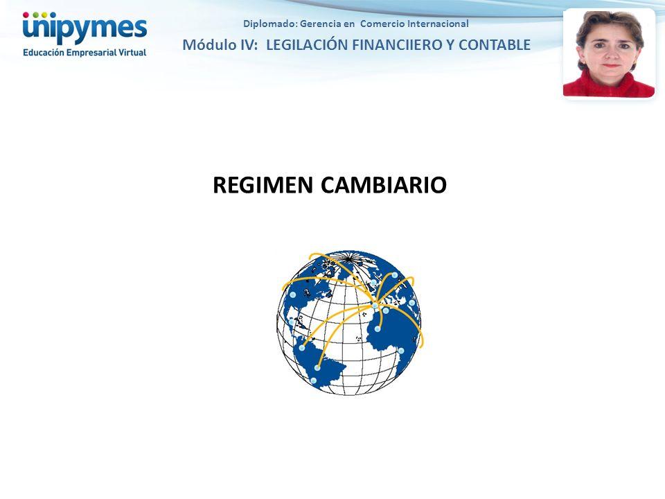 REGIMEN CAMBIARIO Diplomado: Gerencia en Comercio Internacional Módulo IV: LEGILACIÓN FINANCIIERO Y CONTABLE
