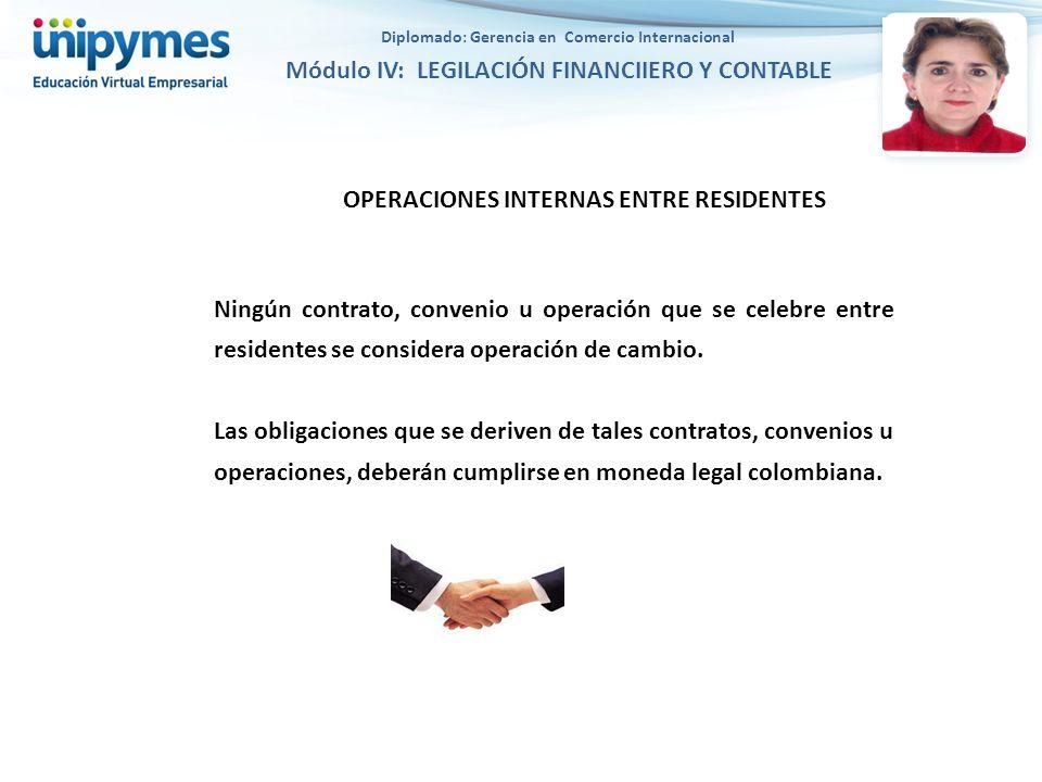 OPERACIONES INTERNAS ENTRE RESIDENTES Ningún contrato, convenio u operación que se celebre entre residentes se considera operación de cambio. Las obli