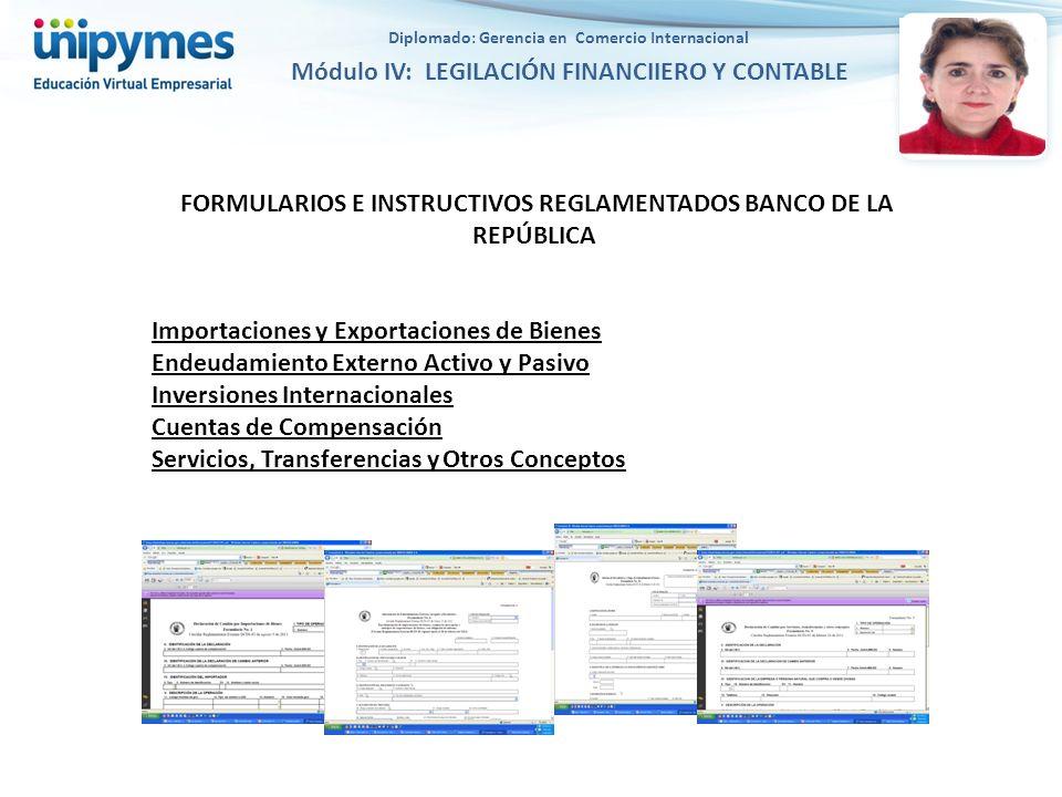 FORMULARIOS E INSTRUCTIVOS REGLAMENTADOS BANCO DE LA REPÚBLICA Importaciones y Exportaciones de Bienes Endeudamiento Externo Activo y Pasivo Inversion