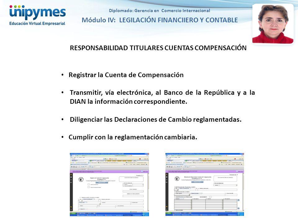 RESPONSABILIDAD TITULARES CUENTAS COMPENSACIÓN Registrar la Cuenta de Compensación Transmitir, vía electrónica, al Banco de la República y a la DIAN la información correspondiente.