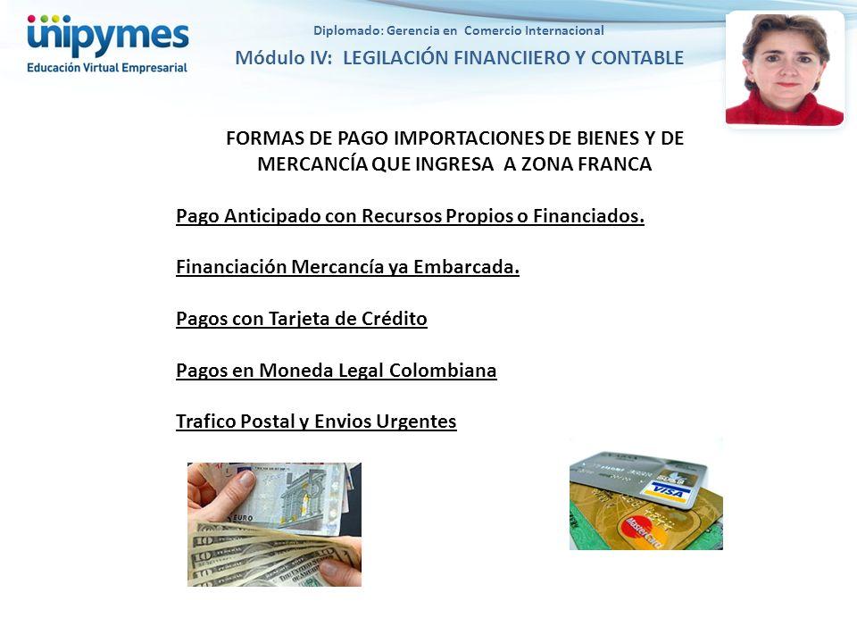 FORMAS DE PAGO IMPORTACIONES DE BIENES Y DE MERCANCÍA QUE INGRESA A ZONA FRANCA Pago Anticipado con Recursos Propios o Financiados.