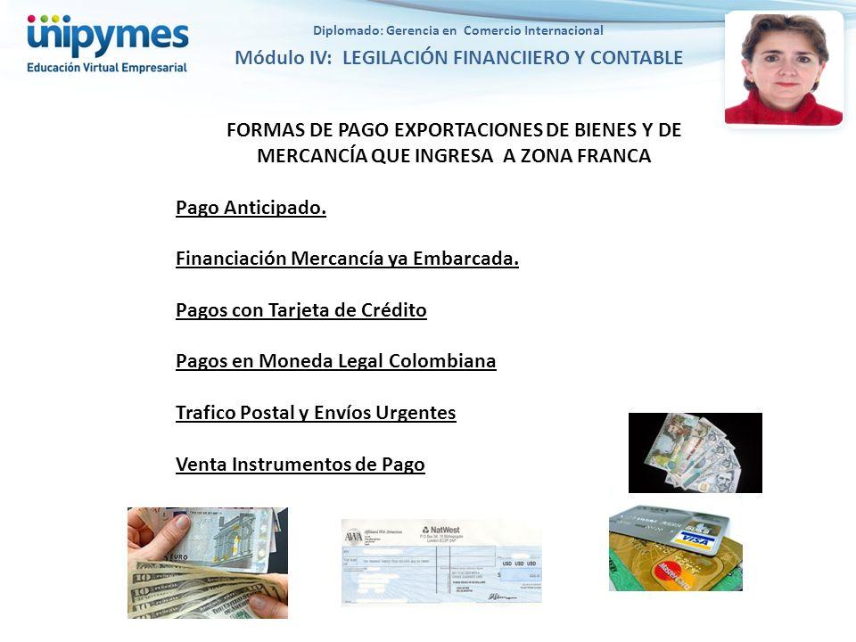 FORMAS DE PAGO EXPORTACIONES DE BIENES Y DE MERCANCÍA QUE INGRESA A ZONA FRANCA Pago Anticipado. Financiación Mercancía ya Embarcada. Pagos con Tarjet