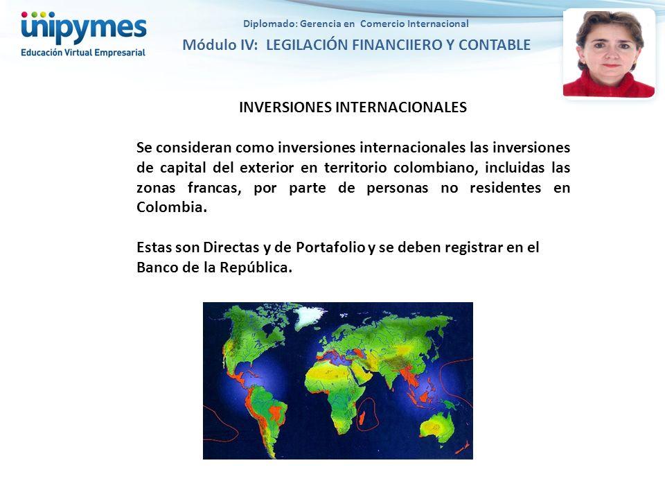INVERSIONES INTERNACIONALES Se consideran como inversiones internacionales las inversiones de capital del exterior en territorio colombiano, incluidas