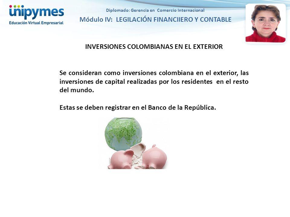 INVERSIONES COLOMBIANAS EN EL EXTERIOR Se consideran como inversiones colombiana en el exterior, las inversiones de capital realizadas por los residentes en el resto del mundo.
