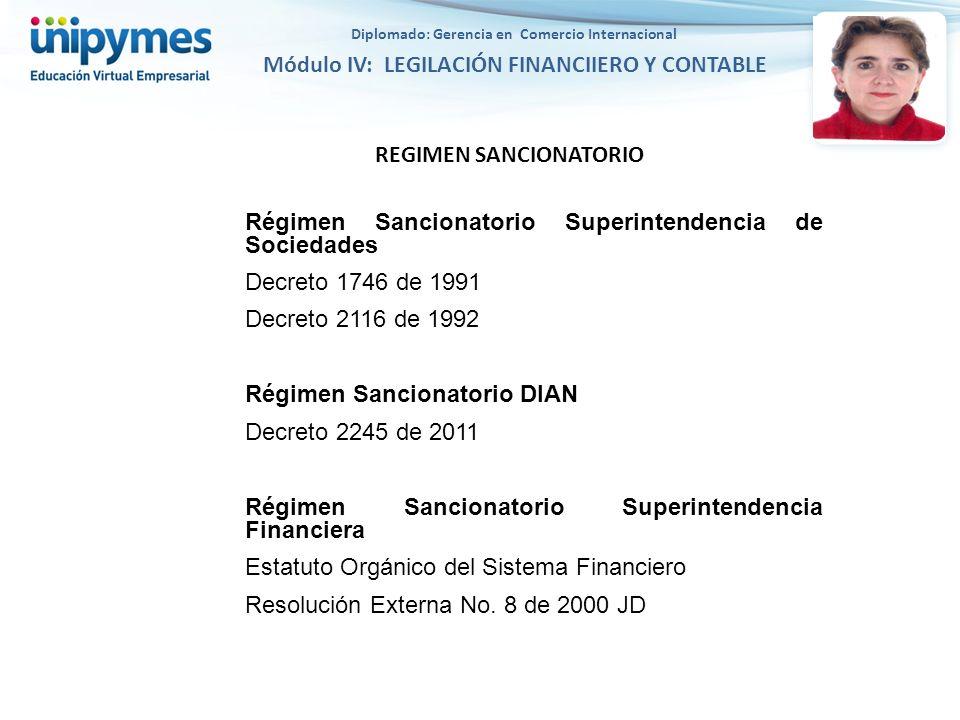 REGIMEN SANCIONATORIO Régimen Sancionatorio Superintendencia de Sociedades Decreto 1746 de 1991 Decreto 2116 de 1992 Régimen Sancionatorio DIAN Decret