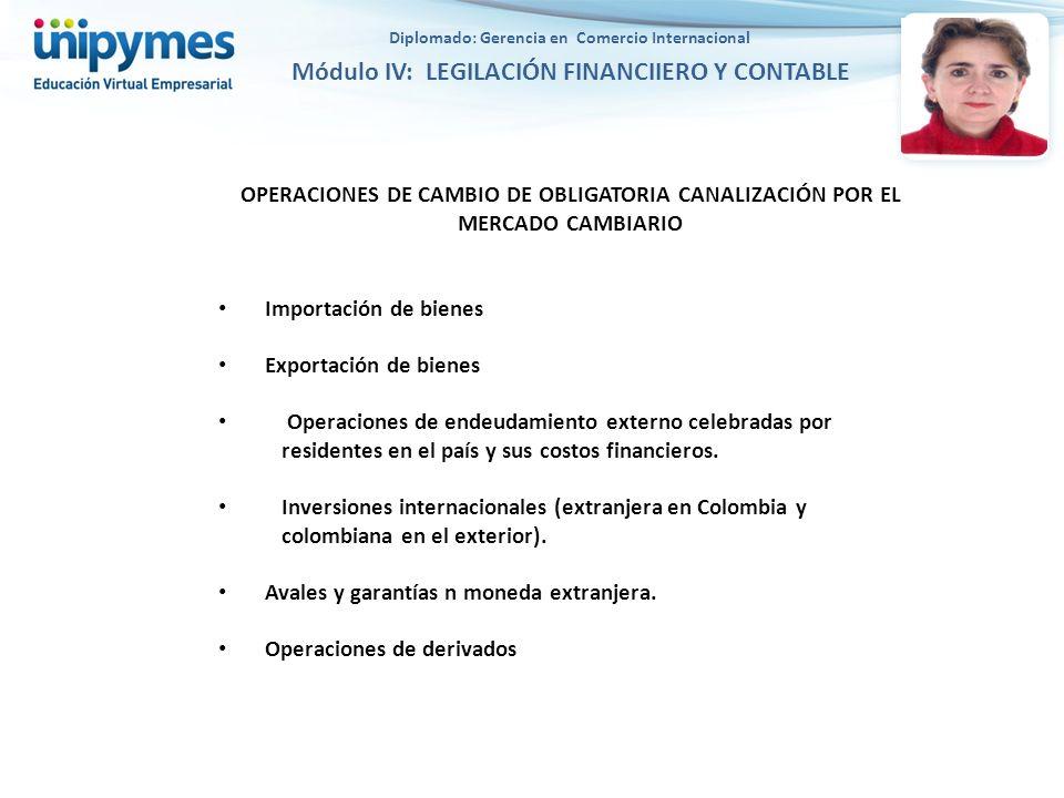 OPERACIONES DE CAMBIO DE OBLIGATORIA CANALIZACIÓN POR EL MERCADO CAMBIARIO Importación de bienes Exportación de bienes Operaciones de endeudamiento ex