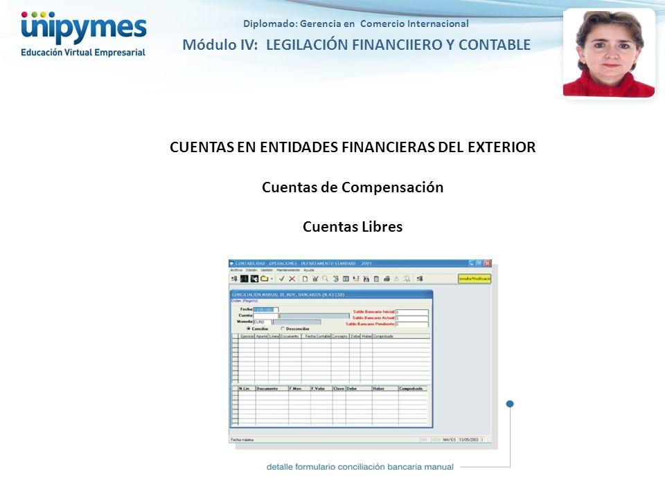CUENTAS EN ENTIDADES FINANCIERAS DEL EXTERIOR Cuentas de Compensación Cuentas Libres Diplomado: Gerencia en Comercio Internacional Módulo IV: LEGILACIÓN FINANCIIERO Y CONTABLE