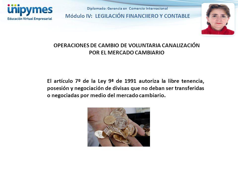 OPERACIONES DE CAMBIO DE VOLUNTARIA CANALIZACIÓN POR EL MERCADO CAMBIARIO El artículo 7º de la Ley 9ª de 1991 autoriza la libre tenencia, posesión y n