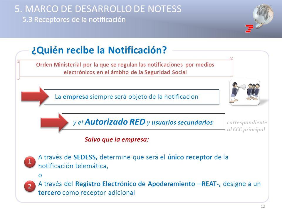 La empresa siempre será objeto de la notificación Salvo que la empresa: A través de SEDESS, determine que será el único receptor de la notificación te