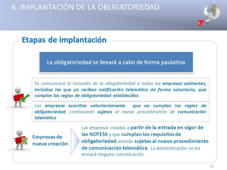 6. IMPLANTACIÓN DE LA OBLIGATORIEDAD La obligatoriedad se llevará a cabo de forma paulatina Las empresas creadas a partir de la entrada en vigor de la